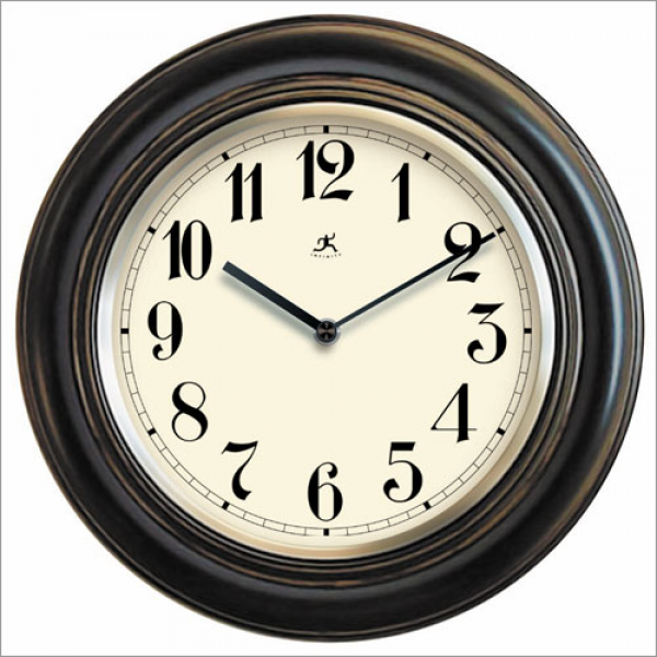 Wood Wall Clock With Metal Bezel In Antique Lacquer Finish ...