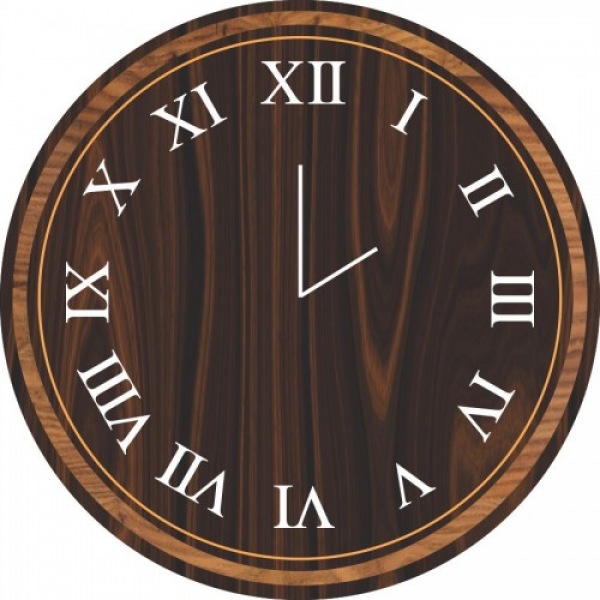 Wooden Design Analog Wall Clock (Black)