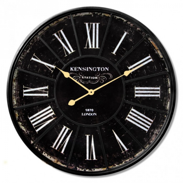 Kensington Black Antique Style Wood Wall Clock | Clock Central