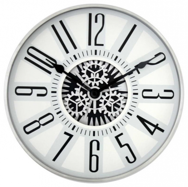 ... Silvertone Stainless Steel Rotating Gear Wall Clock transitional-wall