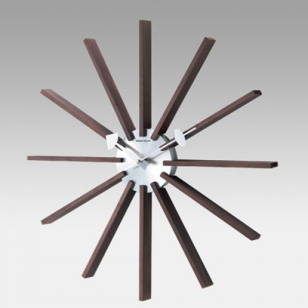 George Nelson Inspired Square Spindle 19.25 Inch Wall Clock by Kirch ...