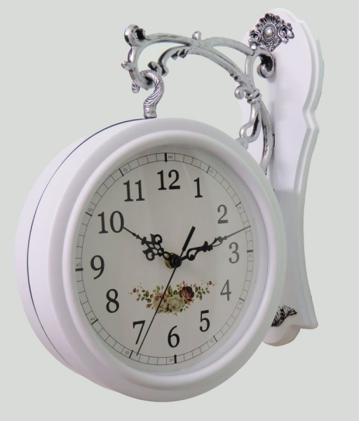 The gorgeous designer white finish two sided hanging wall swivel clock ...