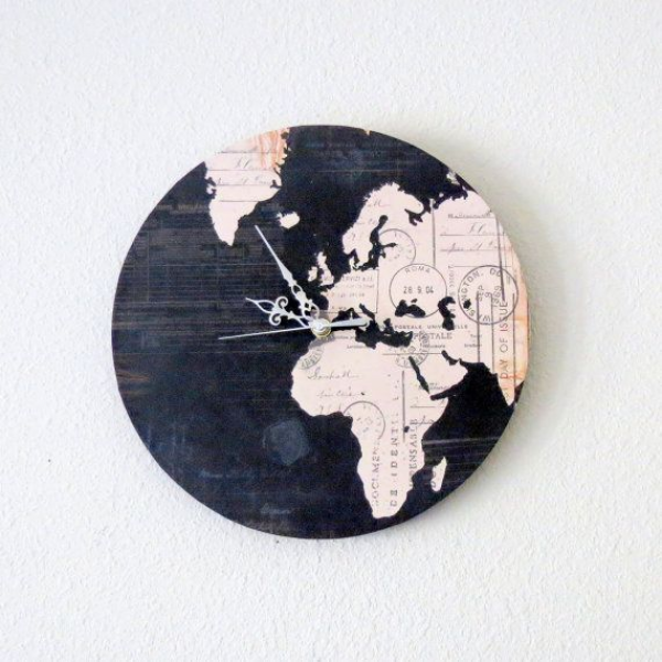 Unique Wall Clock, Home and Living, MapWall Clock, Decor & Housewares ...
