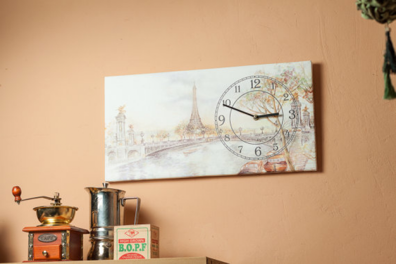 Living room wall clocks Paris - unique wall clocks on canvas - canvas ...