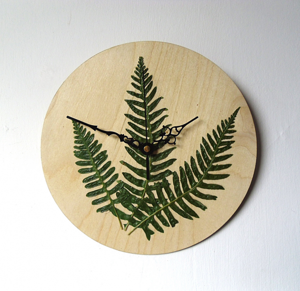 Unique Wall Clock Real Fern Leaves Wood Clock by NaturalClocks