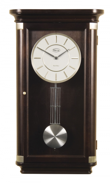 An ebony real wood wall clock with Westminster and Ave Maria chimes