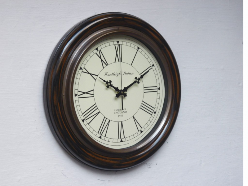 Details about Home Decor Antique Style Wooden and Brass Wall Clock