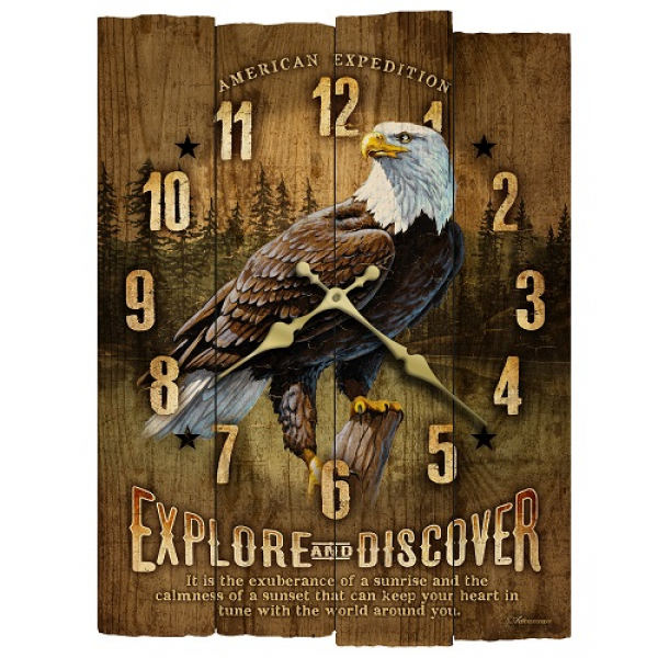 ... for Outdoorsman > American Expedition Bald Eagle Wooden Wall Clock