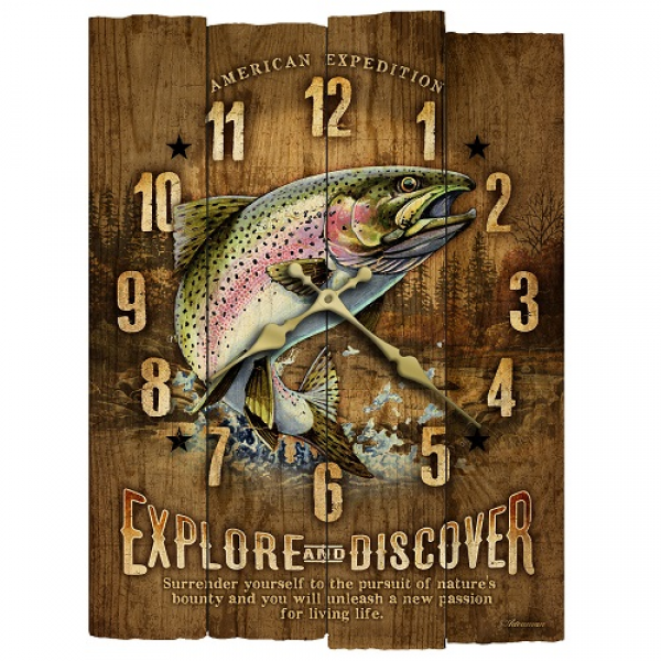 American Expedition WCBK 112 Rainbow Trout Wooden Wall Clock | eBay