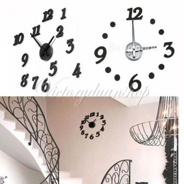 New Black DIY Modern Time Design Wall Clock Home Interior Room Decor ...