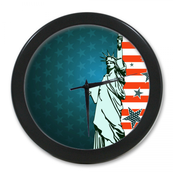 High-Quality-Wall-Decor-Clock-Custom-America-Flag-And-Statue-of ...