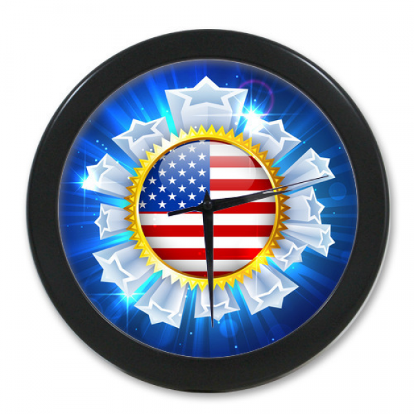 High-Quality-Wall-Clock-Modern-Design-Custom-America-Flag-Stars ...