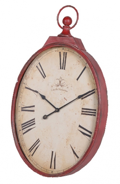 Red Distressed Oval Wall Clock available at sweetpeaandwillow.com