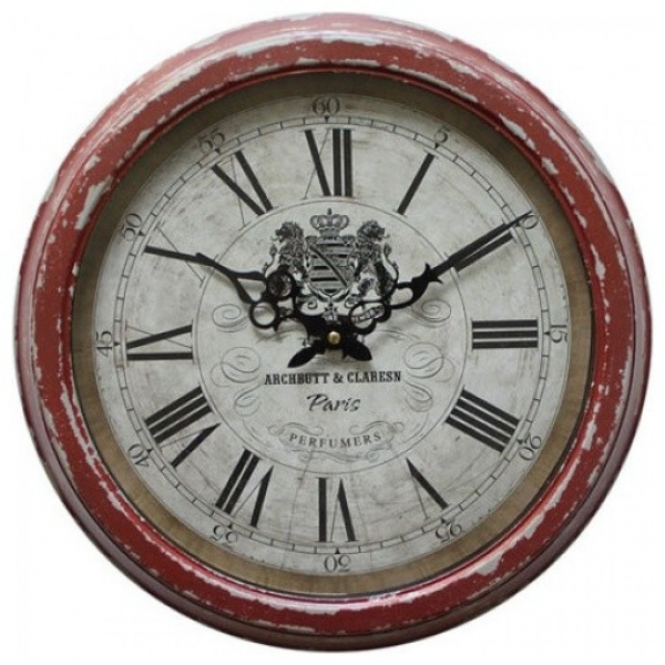 ... Circular Iron Wall Clock Distressed Red Iron Frame contemporary-clocks