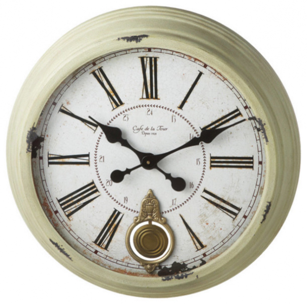 Distressed Sage Round Wall Clock Round - Traditional - Wall Clocks ...