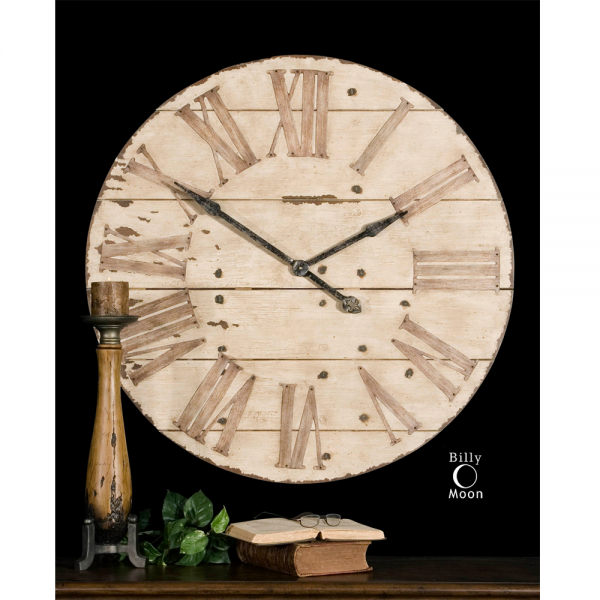 Distressed Provence Wall Clock - roman numerals