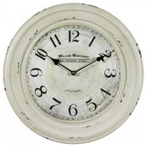 ... Circular Iron Wall Clock Distressed White Iron Frame farmhouse-clocks
