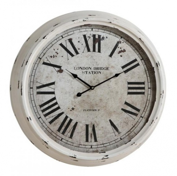 24in Distressed White Finish Wall Clock | Farmhouse | Pinterest