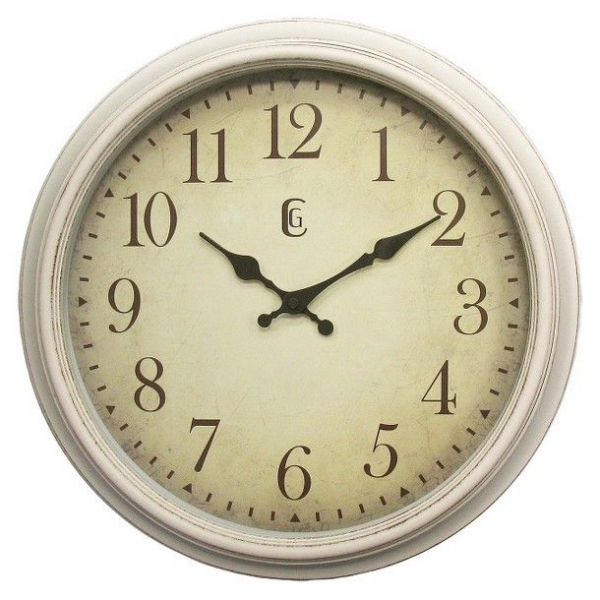 Geneva Distressed Wall Clock - White (15.5)