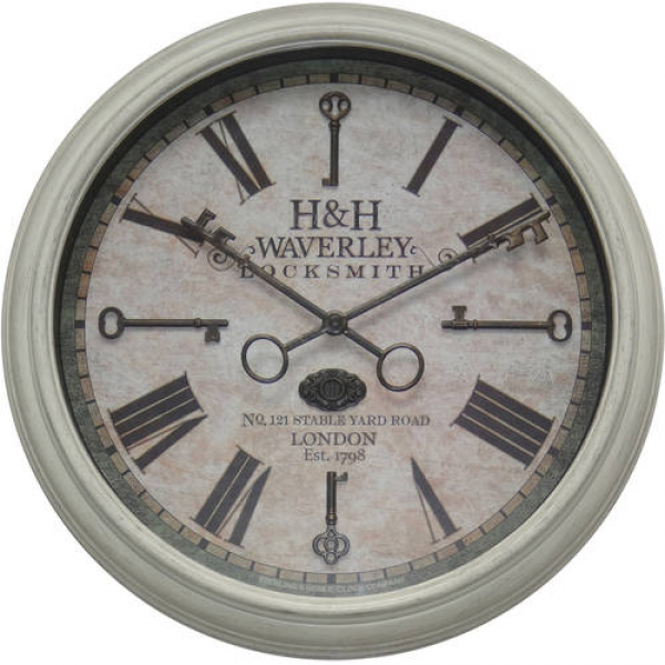 Better Homes and Gardens 15.5 Key Wall Clock, Distressed White