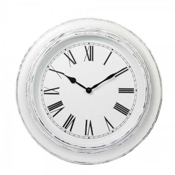 ... Clocks › Parlane › Parlane Round White Distressed Wall Clock