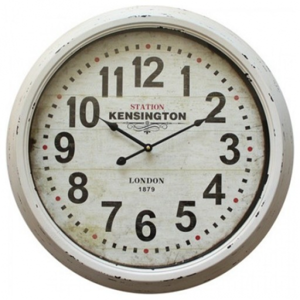 ... Iron Wall Clock With Distressed White Frame contemporary-wall-clocks