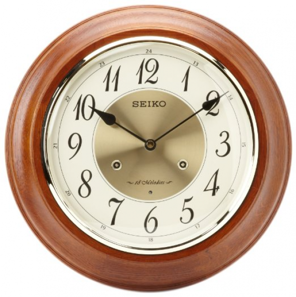 ... Clocks > Seiko Clock - Verona Dark Brown Musical Wooden Wall Clock