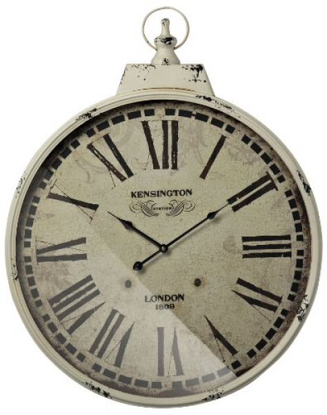 Sterling Kensington Station Wall Clock With Antique Cream Metal Frame ...