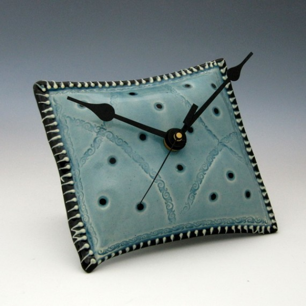 Wall Clock Unique Pillow Shaped by Creativewithclay on Etsy