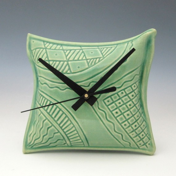 Unique Pillow Shaped Ceramic Wall Clock by Creativewithclay