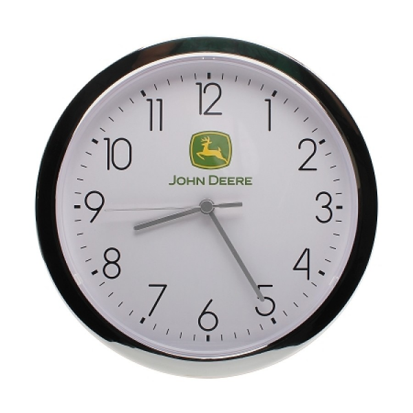 John Deere 11 Chrome Finish Wall Clock | RunGreen.com