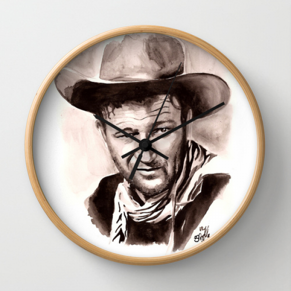 John Wayne Wall Clock by Stephanie Nuzzolilo | Society6