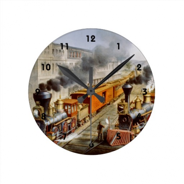 Train Station ~ Vintage Railroad Fine Art Round Wall Clock | Zazzle