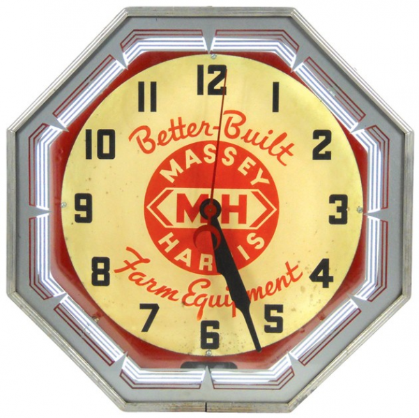 411: Massey-Harris neon clock, Better Built Farm Equip