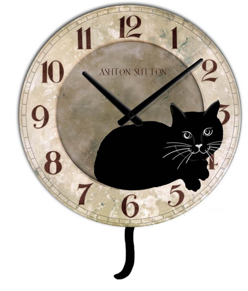 Chaney 46060 Black Cat Wall Clock with Tail as Pendulum