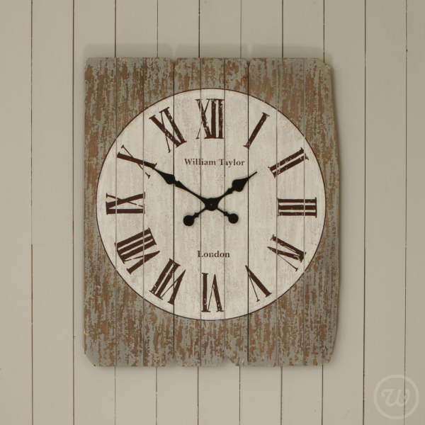 Slatted Rectangular Wooden Wall Clock - Very Large