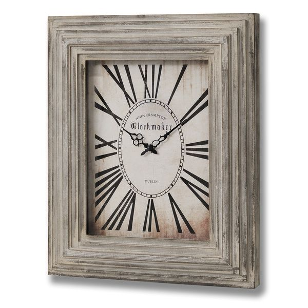 Rectangular Distressed Wooden Wall Clock | Green Ginger Gallery