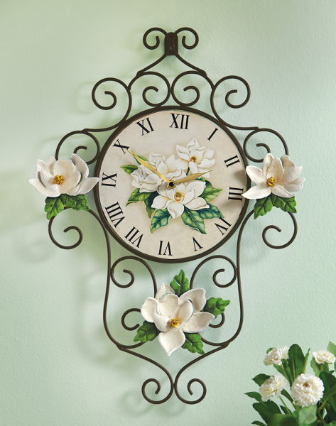 Collections etc Magnolia Scrollwork Metal Wall Clock | eBay