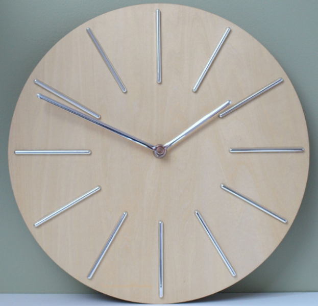 Wall Clock Wooden Modern Stylish Kitchen Clock - Silver Colour Hands ...