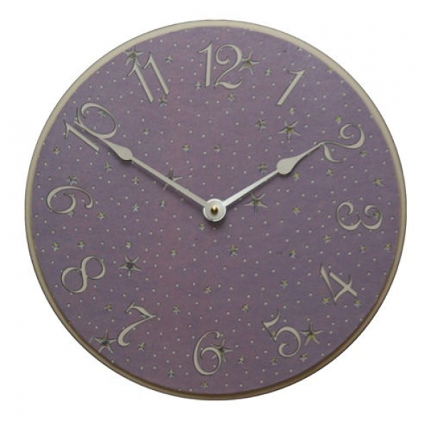 Lavender with Silver Stars Wooden Wall Clock - The Frog and the ...