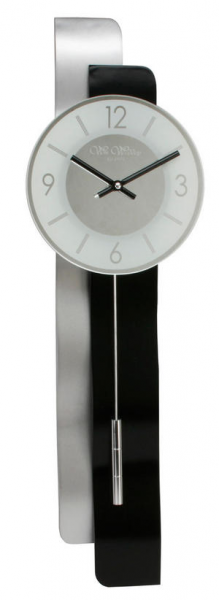 ... Mantel Clocks > Hometime Long 66cm Black and Silver Wooden Wall Clock