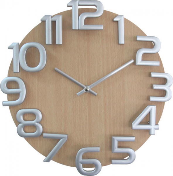 Silver Numbers Wooden Wall Clock - Modern - Wall Clocks - by ...