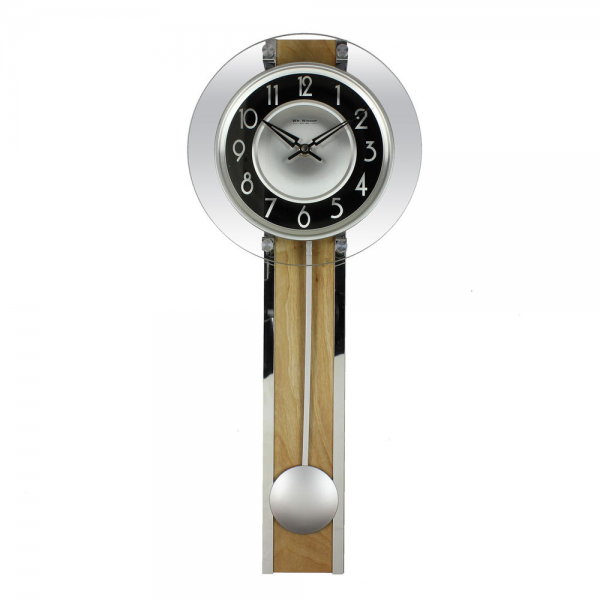 MODERN BLACK / SILVER / GLASS & WOOD WALL CLOCK WITH PENDULUM.NEW ...