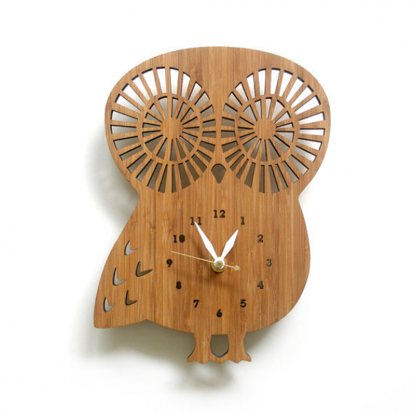 Modern Animal Clock Owl with Numbers by decoylab on Etsy