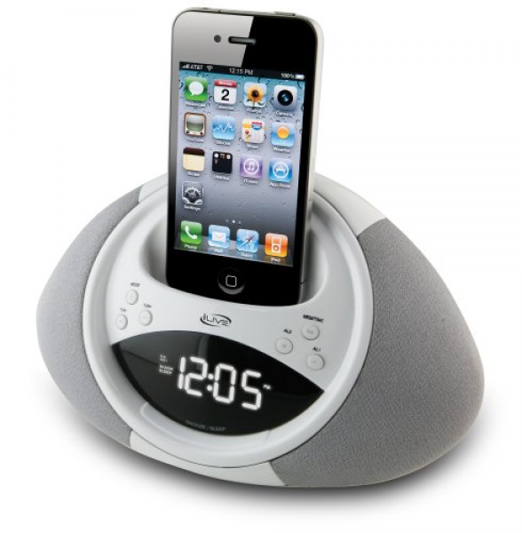 iLive ICP122W Clock Radio with Dock for iPhone/iPod, 20 FM Presets and ...
