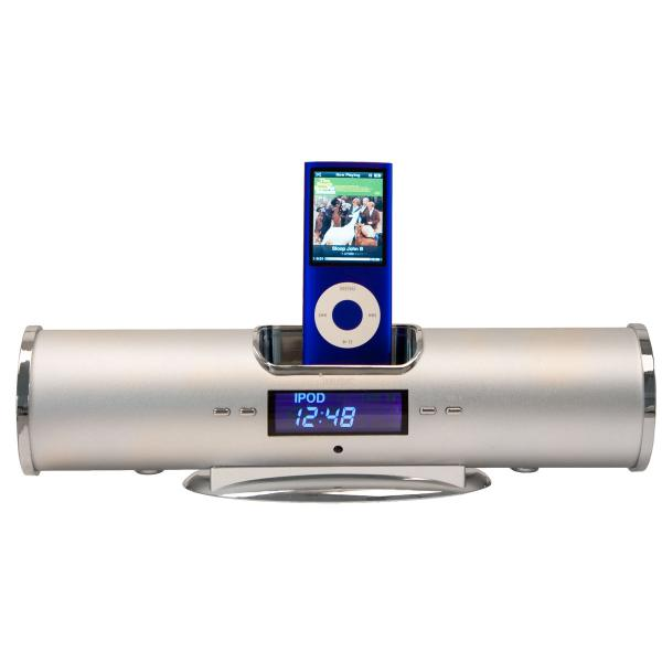 iPod Dock with Alarm Clock & Remote Control - Silver | iPhone &
