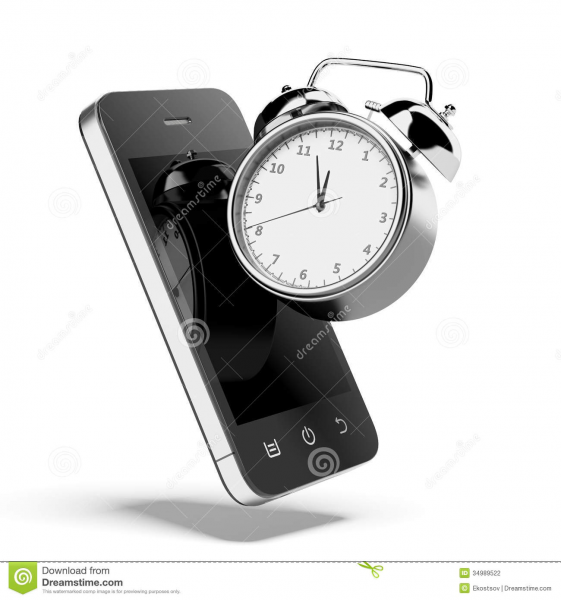 Alarm clock with smartphone isolated on a white background. 3d render.