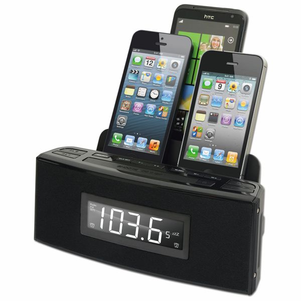 CR18: 3 Port Smart Phone Charger with Speaker and Alarm Clock