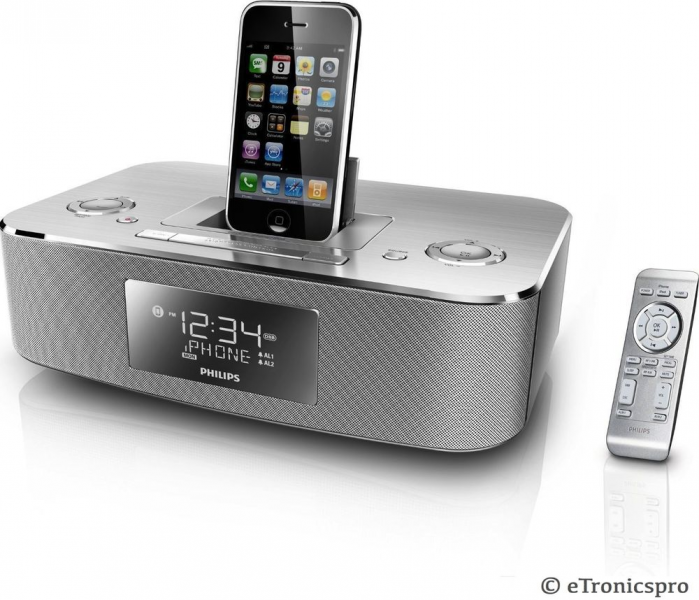 Philips Apple iPod iPhone Dock Station Alarm Clock Radio w Remote 3G ...