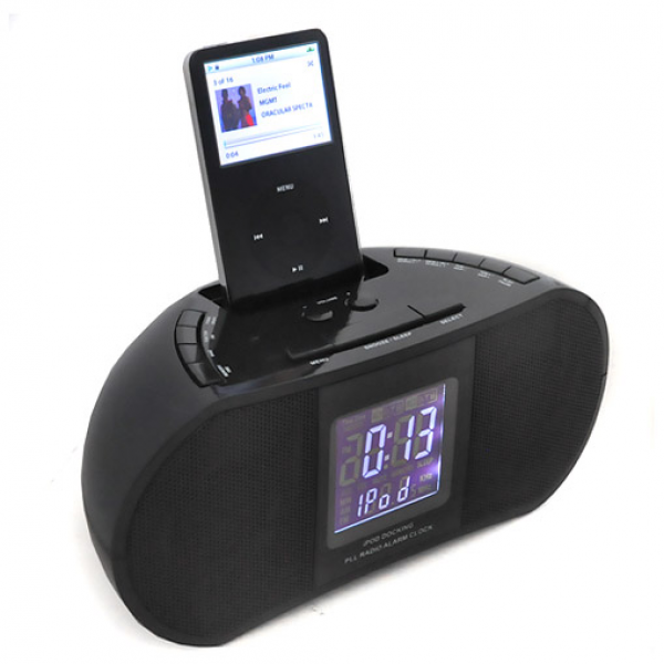 Denver CRI-820 iPod Docking Station FM Radio Alarm Clock - Black at ...